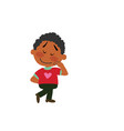 cartoon character of a shy black boy vector image