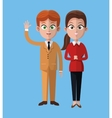 cartoon man and woman together work office vector image