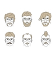 hair and beard on the sketch vector image