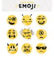 Hand drawn set of Emoticons vector image