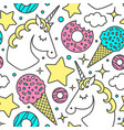 seamless pattern with unicorn clouds stars vector image