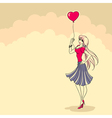 silhouette woman with heart vector image