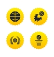 Basketball icons Ball with basket and fireball vector image