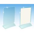 Glass transparent advertising desktop stand vector image