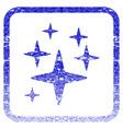 sparkle stars framed textured icon vector image