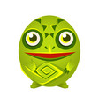 cute green chameleon geometric amphibian colorful vector image