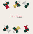 christmas gift card hand drawn sketch set vector image