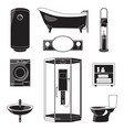 monochrome of bathroom furniture and vector image