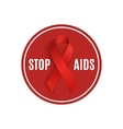 Stop AIDS sign with red ribbon vector image