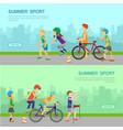 summer sport web banner in flat design vector image