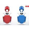 Set of Taekwondo body guard and helmets vector image