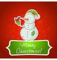 Christmas snowman invitation postcard vector image vector image