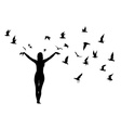 Silhouette of girl and birds vector image
