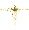 christmas gold ribbon vector image