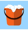 Red cleaning bucket with soap bubbles vector image