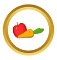 Apple and carrot icon cartoon style vector image