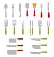 Stainless steel BBQ grill tools and cooking vector image