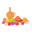 Variety of Spices on a Wooden Tray With Flowers vector image