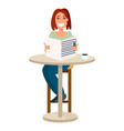 woman reading newspaper in a vector image