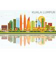 Kuala Lumpur Skyline with Color Buildings vector image