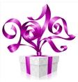 purple ribbon and gift box Symbol of New Year 2017 vector image