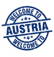 welcome to austria blue stamp vector image