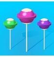 3d colorful sweet lollipops vector image