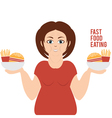 a woman who chooses fast food vector image