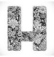 Doodles font from ornamental flowers - letter H vector image
