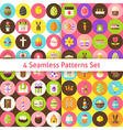 Four Flat Happy Easter Seamless Pattern Set with vector image