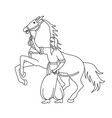 cossack with sword and horse vector image