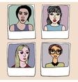 Portraits frame fashionable girls vector image