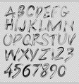handwritten brush font letters and numbers vector image