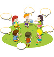 Children sit in circle and play game vector image