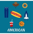 American flat symbols and icons vector image