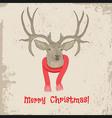 Deer vintage Christmas card animal vector image