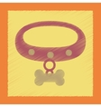 Flat shading style icon dog collar vector image