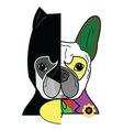 Hero vs villain characters in French bulldog styl vector image