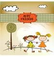 Two little girls best friends vector image