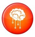 Sensors on human brain icon flat style vector image