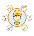 Mechanic repairman with job tool icons vector image vector image