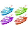 Four boats in different colors vector image vector image