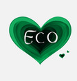 paper art of eco green heartgradient vector image