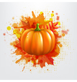 Grunge Background With Orange Pumpkin And Leaves vector image vector image
