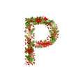 christmas floral tree letter P vector image