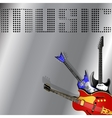rock musical background with guitar vector image vector image