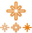 Orange line cross logo design set vector image