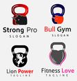 Gym Fitness Animals Logos Set 1 vector image