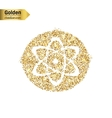 Gold glitter icon of atom isolated on vector image