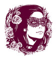 girl in vintage mask with hair decorated with vector image
